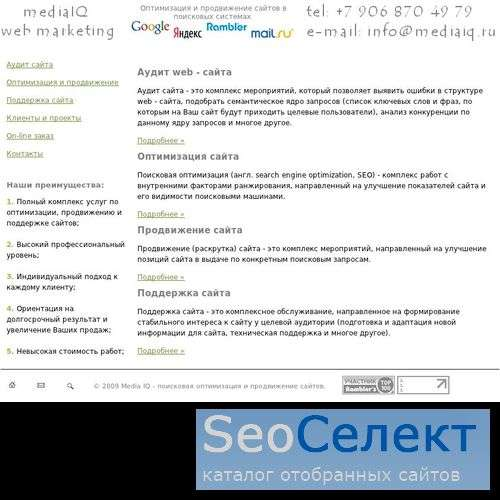 Поисковое продвижение сайтов - http://www.mediaiq.ru/